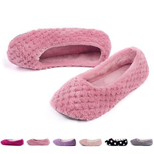 TWINS Fashion « Odessa » weich & warm gefütterte Damen Ballerinas Pantoffeln Slippers I Fleece I Plüsch - Rutschfeste Hausschuhe Herbst & Winter (36/37, Rosa)