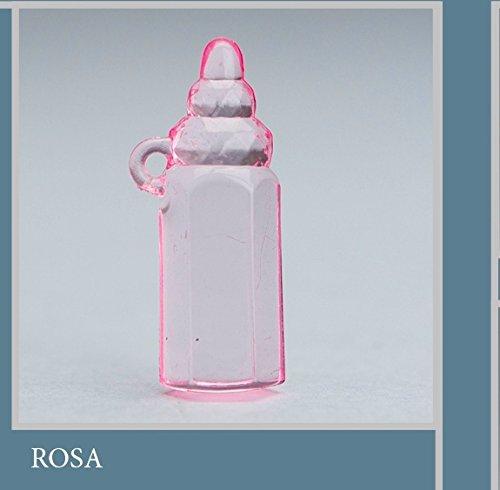 Lot 50 pièces, Bonbonnière application Biberon en plastique, dimension cm 1,5 x 3,5, pour marque-place, composition Confetti. (ck6117) rose