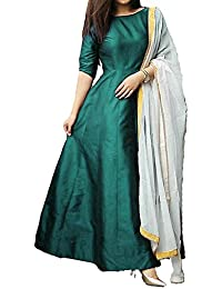S R Fashion Girls Green Full Length Tapeta Silk Full Stitched Gown For Womens(SRF_Full Stitched_Tapeta_JFW-129...