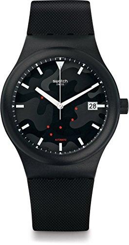 Swatch Herren Digital Automatik Uhr mit Silikon Armband SUTA401 - Kunststoff-rotor-gehäuse