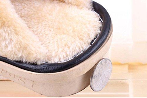 FARALY Le Nuove Pantofole Del Cotone Di Inverno Coppie I Pattini Impermeabili Del Panno Del Panno Del Cuoio Dell'unità Di Elaborazione Calda Dell'unità Di Elaborazione Black