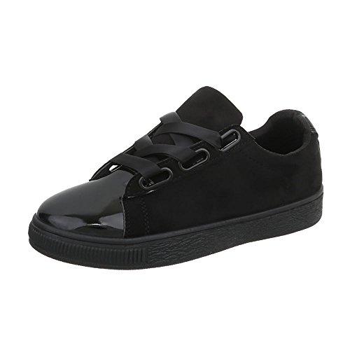 Ital-Design Sneakers Low Damen-Schuhe Sneakers Low Sneakers Schnürsenkel Freizeitschuhe Schwarz, Gr 39, Ra1041-
