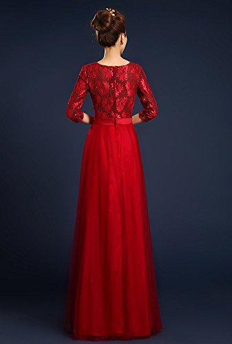 Drasawee - Robe - Taille empire - Femme rouge foncé