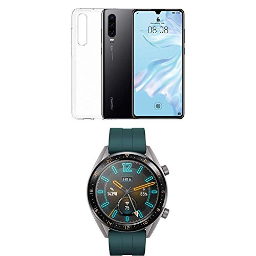 Foto Huawei P30 (Black) più cover trasparente + Huawei Watch GT Active...