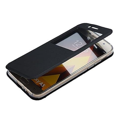 Galaxy A5 (2017) Coque - Housse pour Samsung Galaxy A5 (2017) - Flip Case [Mince] Etui avec Béquille de Fenêtre en Noir