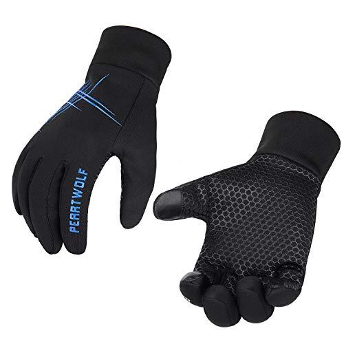 Petrunup guanti da corsa guanti leggeri da uomo da ciclismo antivento e impermeabili guanti da bici completi con fodera in pile blu