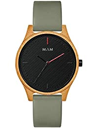 Reloj Madera Mam 617 Areno Bambú Hombre Piel Verde