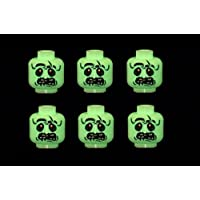 6 x Glow in the Dark Zombie Heads Halloween -Custom Designed for Minifigures - Printed on LEGO Parts