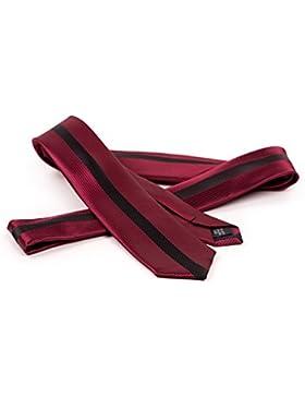 Corbata roja y estrecha --- BE RED ---3 corbatas de alta calidad de seda y microfibra incl. instrucciones para...
