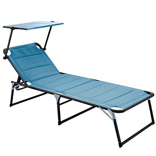 Meerweh Chaise Longue de Jardin XXL en Aluminium avec Toit rembourré avec Mousse Quick Dry Foam Bleu 200 x 70 cm
