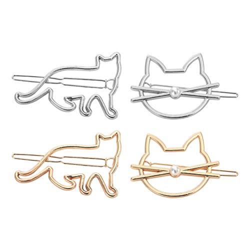 4pcs pinces à cheveux de chat barrettes de cheveux en métal pour les femmes et les filles