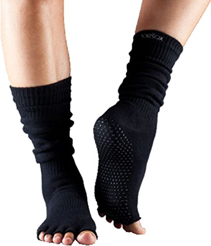 Fitness Mad ToeSox sans orteils du genou chaussettes haute sport Yoga Pilates Mesdames Demi Doigt noir - Noir
