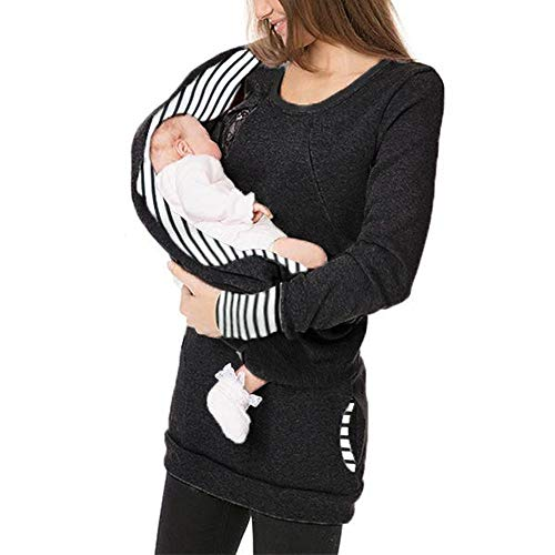 Mutterschafts Gestreifte Umstandsmode mit Baby Carrier Loop Infinity Schal Taschen Babytragens Stillzeit Umstandshirt Rundkragen Baby Carrier Pullover Langarmshirt Tops für Schwangerschaft (Infinity-sweatshirt)