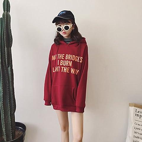 Xuanku Harajuku Wind Jacket In Lose Dicke Frauen Lange Gap Pullover Stricken Pulloverxl,Wine Red