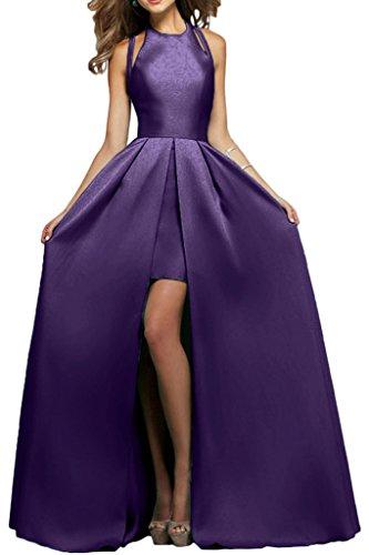 Victory Bridal Elegant Satin Modern Abendkleider Partykleider Promkleider A-linie Rock Bodenlang Dunkel Lila