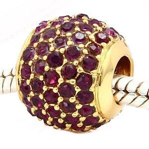 Andante-Stones perle Gold Pavé Bead Or 14K mit amethystfarbenen - Élément bille pour perles European Beads + Étui en organza