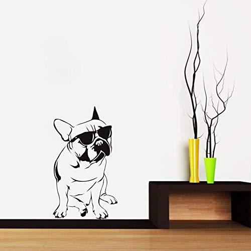 Wandaufkleber Bulldog Mit Sonnenbrille Wandaufkleber Hübsche Mode Hund Wandaufkleber Aufkleber Für Jungen Schlafzimmer Dekorative 33 * 59 Cm