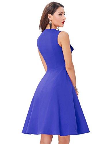 Belle Poque Damen Vintage Rockabilly Kleid Sommer Ärmellos Kleid Swing Kleid Cocktail Kleid MY282 BP282-2(Blau)