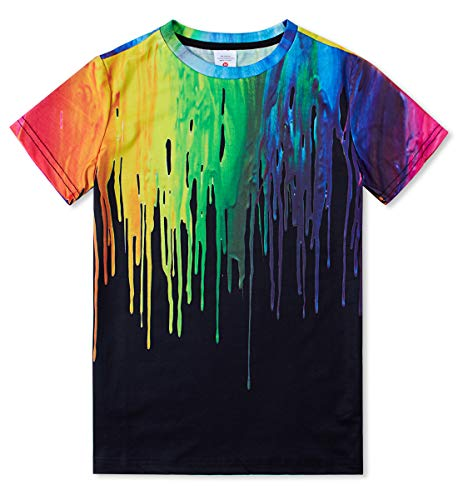 Idgreatim Jungen Mädchen Kurzarm T Kinder Kind Jugendliche Jugend 3D Bunte Tinte Lustiges T-Shirt Schwarz L -