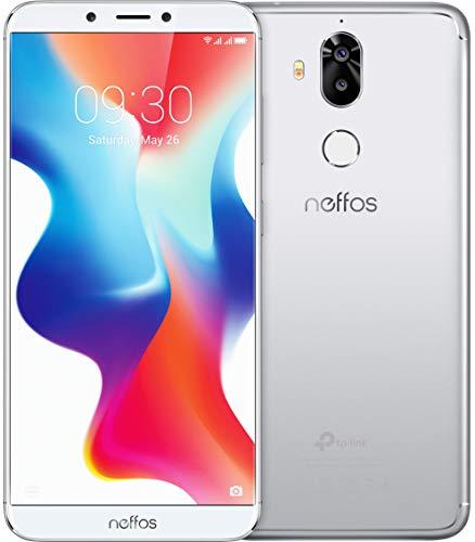 TP-Link Neffos X9 Dual Kamera FullView-Smartphone ohne Vertrag, 5,99 Zoll HD+ Bildschirm (15,21 cm), 32GB , Dual SIM, Fingerabdruck, Gesichtserkennung, 13MP Kamera, Android 8.1 (NFUI), moonlight silver