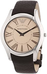 Emporio Armani Mens Quartz Watch, Analog Display and Leather Strap AR2041