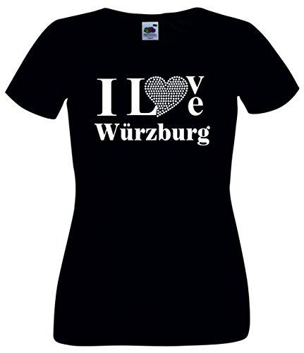 T-Shirt I Love Wuerzburg mit einer Strassaplikation / Strassherz Weiß