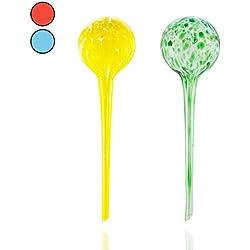 Amazy Bewässerungskugeln (2er Set | Grün & Gelb) – Handgefertigte Durstkugeln zur Bewässerung Ihrer Pflanzen im Urlaub (bis zu 14 Tage)