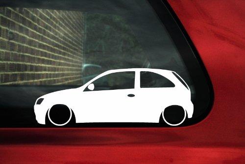 Turnerco - Adesivo a forma di Opel Corsa C 3 porte con assetto ribassato - Assetto Ribassato