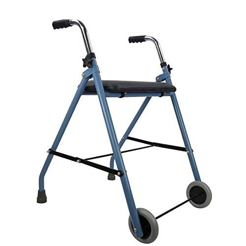 SISHUINIANHUA Rollators Folding Walker mit Seat 2-Rad für ältere Personen, Verstellbarer Griff, Behinderte, ältere Menschen, Erwachsene (Folding 2-rädern Walker)