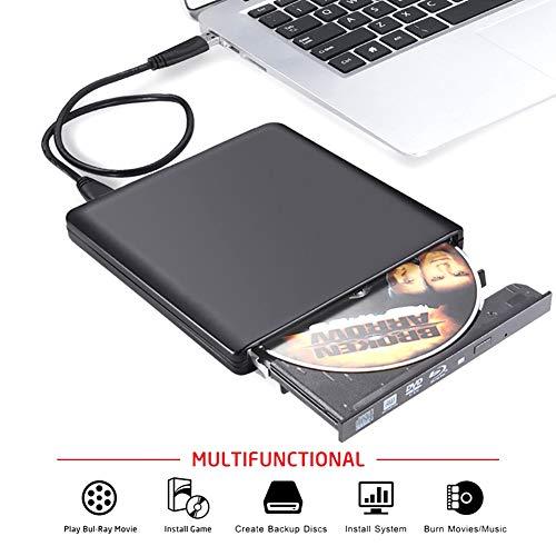 Traioy USB 3.0 Blu-Ray-Laufwerk BD-RW-Brenner CD/DVD-ROM-Laufwerk Optisches Laufwerk Externer Blu-ray-Player für HP Laptop-Computer von Apple,Black