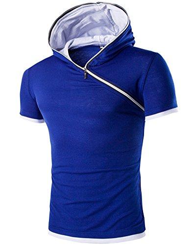 Herren Hooded T-Shirt Kurzarm Hoodie Reißverschluss Shirt Trainingsshirt Blau