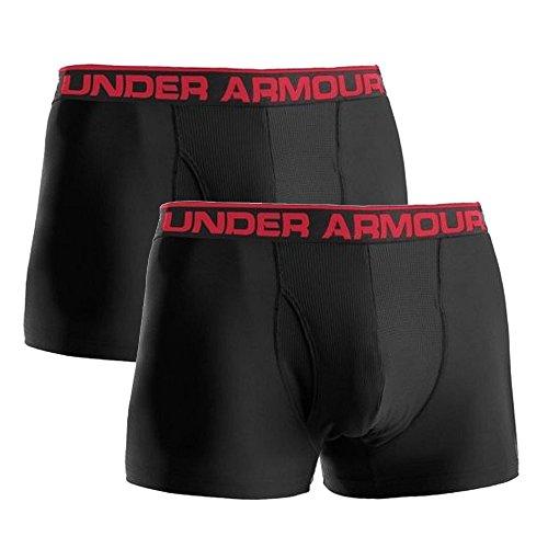 UNDER ARMOUR Herren HeatGear Fitted ORIGINAL 3inch Boxer Boxershort 2er Pack Schwarz 001 - M (Compression Shorts Mens)