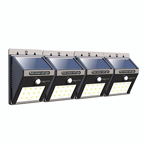 Solar Leuchte Sicherheits-12 LED Bewegungssensor Solarlampe,Starlotus Wasserfest Kabelloses Nachtlicht Sicherheitslicht für Garten, Innenhöfe, Balkons,Treppen, Außenwand - 4 Stück