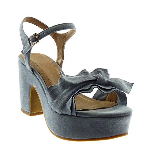 Angkorly Chaussure Mode Sandale Escarpin Lanière Cheville Plateforme Femme à Volants Noeud Boucle Talon Haut Bloc 8.5 CM Bleu