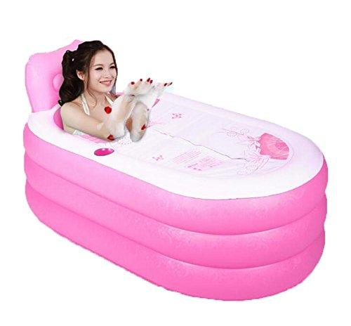 PVC Tragbar Faltbar Aufblasbar Erwachsene Badewanne Mit Fuß Pumpe zum Familie Bad SPA LAD-I , Pink