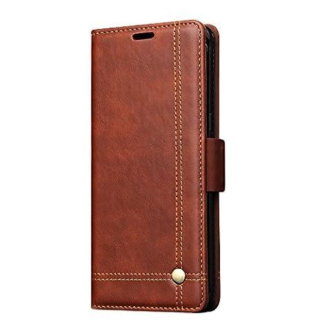 Samsung Note 8Coque avec béquille avec emplacement pour carte par Fqiao, PU Cuir de protection intégrale Concise Business Defender durable pour Samsung Note 82017Release marron