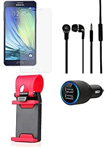 Tempered Glass Screen Guard Car Charger Headphone for Samsung Samsung Galaxy A7 - Combo
