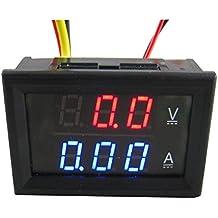 Yeeco DC0-100V 10A Digitale DC Voltmetro Test Gauge Monitor Corrente Volt Amp Tester V / A del Tester di Pannello Multimetro 2in1 con Display Incorporato LED Shunt Rosso Blu Doppio per il Motociclo Batteria