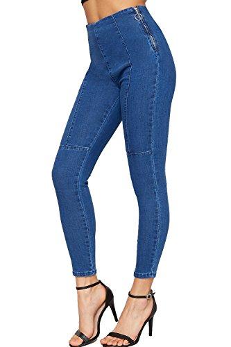 WEARALL - Damen Ausgesetzt Seite Reißverschluss Strecke Dünn Bein Denim Jeans Damen Hose Faux Tasche - Blau - 36 (Taille Original Stretch Hose)