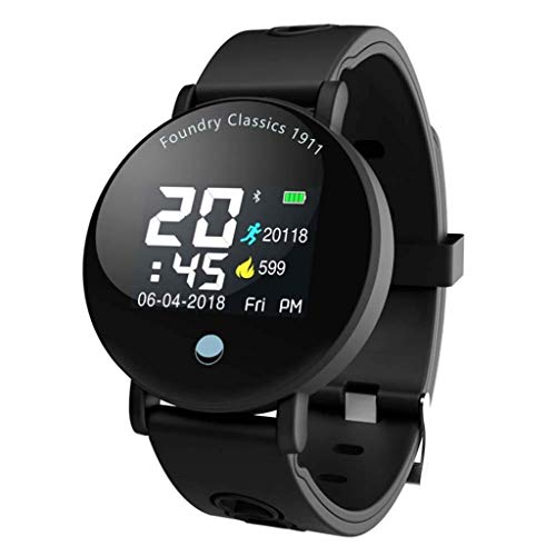 Lg-jz Smart watch color screen Bluetooth smart bracelet Ip67 waterproof pedometer heart rate blood pressure monitoring bracelet (color : All Black)
