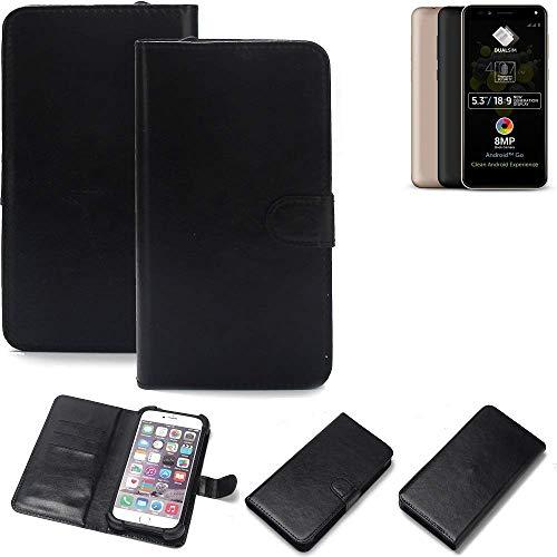 K-S-Trade Wallet Case Handyhülle für Allview A9 Plus Schutz Hülle Smartphone Flip Cover Flipstyle Tasche Schutzhülle Flipcover Slim Bumper schwarz, 1x