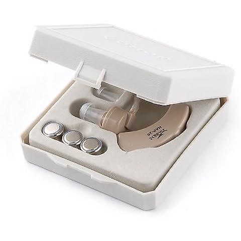 tinxi® Mini Apparecchio Acustico Auricolare Amplificatore(2x batteria+manuale+scatola)