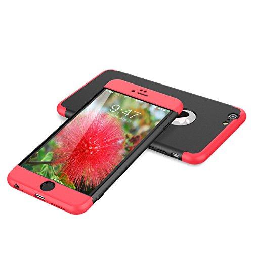 HopMore Fundas iPhone 6s / 6 3 en 1 Duras Case 360 Mate Ultra Slim Antigolpes Design Resistentes PC Cover para iPhone 6s / iPhone 6 -- Rojo + Negro