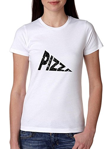 Simple Pizza Slice Word Graphic Women's Cotton T-Shirt