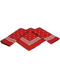 3er Pack XXL-Nickituch Bandana Kopftuch Halstuch klassischem Punktemuster Größe 70 x 70 cm 100% Baumwolle Farbe: rot