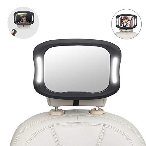 RENS Bebé Asiento Seguridad Espejo,360° Rotación Diseño Con LED Control Luz,Coche Ajustable Interior...