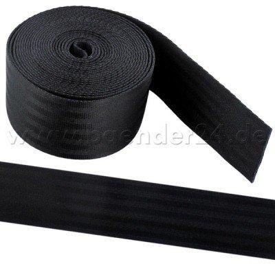 5m schwarzes Sicherheitsgurtband aus Polyamid, 38mm breit, bis 1,5t belastbar