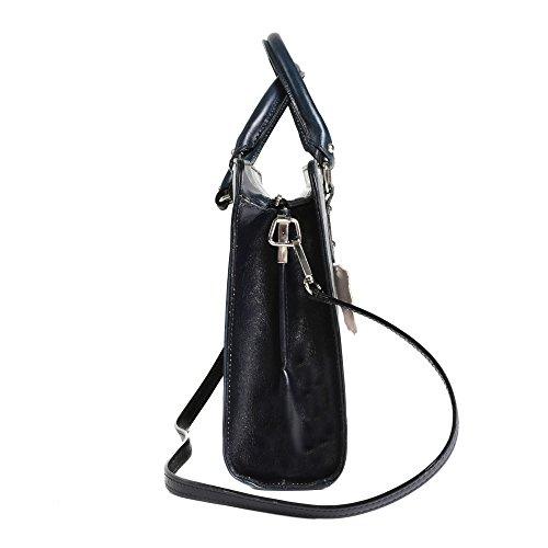 Aktentasche in italienischem Leder, Cartel, Frau Geschäfts HandBag Made in Italy 35x26x11 cm Blau