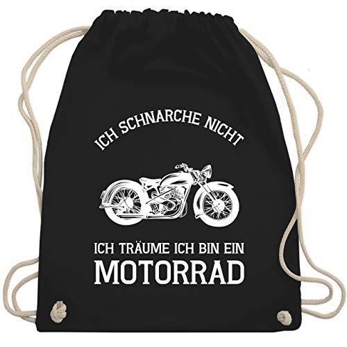 Statement Shirts - Ich schnarche nicht ich träume ich bin ein Motorrad - Unisize - Schwarz - WM110 - Turnbeutel & Gym Bag - Lässige Motorrad-shirts