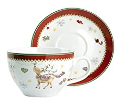 Idea Regalo - HOME Confezione 2 Tazze Jumbo Porcellana Natale Cc450 con Piatti Arredo Tavola, Multicolore